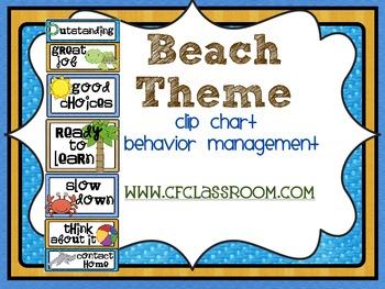 BEACH THEME CLIP CHART / BEHAVIOR PLAN-classroom theme {pr