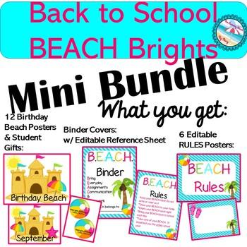 BEACH THEMED {MINI BUNDLE} Back to School Bright & Colorful