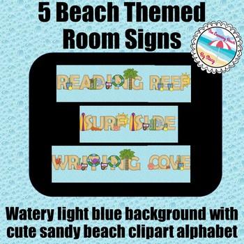 **BEACH Theme** 5 Classroom Signs