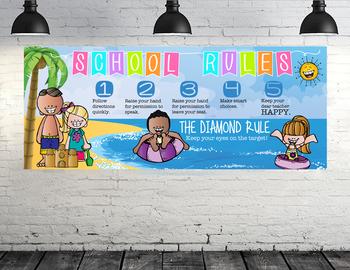 BEACH kids - Class Decor: LARGE BANNER, School Rules, Whole Brain Teaching Rules
