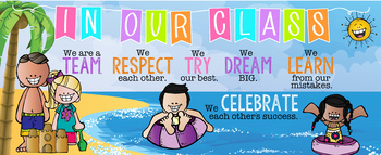 BEACH kids theme - Classroom Decor: LARGE BANNER, In Our Class, printable