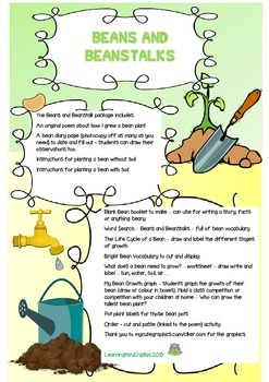 BEANS AND BEANSTALKS - grow a bean plant ORIGINAL POEM and