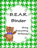 B.E.A.R. Binder - Bring Everything All Ready