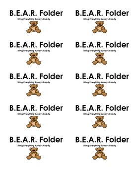 B.E.A.R. Folder Label