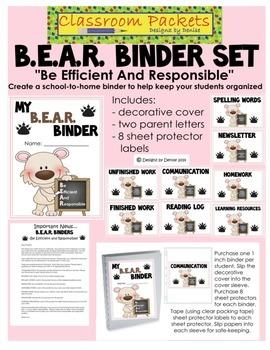 B.E.A.R. School-to-Home Communication Binder Set