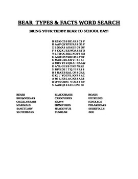 BEAR TYPES & FACTS WORD SEARCH-BRING YOUR TEDDY BEAR TO SC