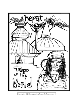 DETAILED NEPAL COLORING PAGE