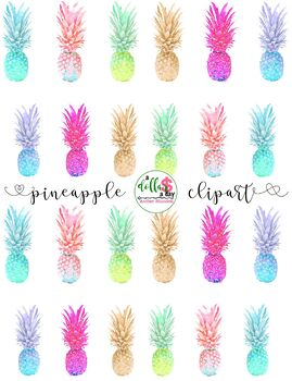 BEAUTIFUL Watercolor Pineapple Tropical Hawaii Clipart Graphics