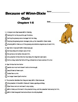 BECAUSE OF WINN-DIXIE Quizzes