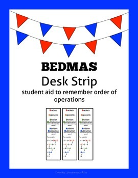 BEDMAS Desk Strip: student aid to remember order of operations