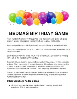 BEDMAS Order of Operations Birthday Game!