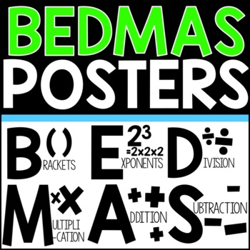 BEDMAS - Order of Operations - Posters