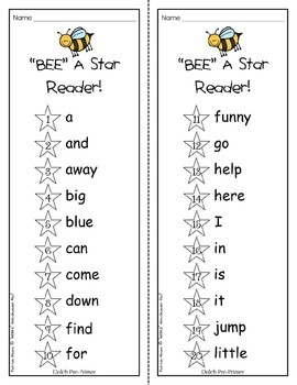 """""""BEE"""" A Star Reader!  Dolch Pre-Primer booklet and activity sheets"""