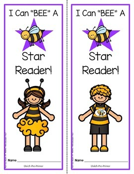 """BEE"" A Star Reader!  Dolch Pre-Primer booklet and activity sheets"