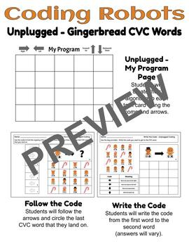 Coding Robots - Gingerbread CVC Words - Plugged & Unplugged