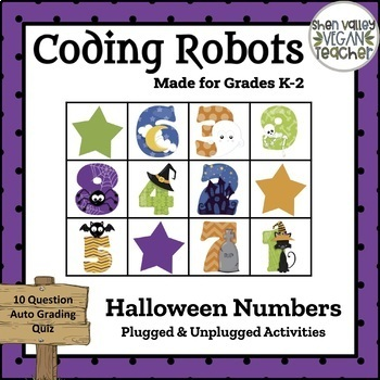 Coding Robots - Halloween Numbers (Words) - Plugged & Unplugged