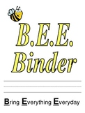 B.E.E. Binder Cover Sheet and Parent Explanation page