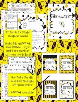 BEE Book {Bilingual & EDITABLE} - Homework and Organizational Binder for Kids