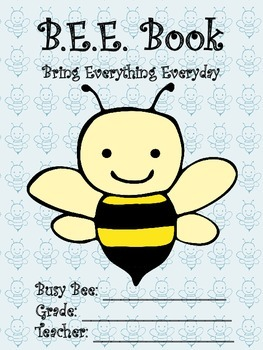 BEE Book Bring Everything Everyday Student Binder Organizer Cover and Contract