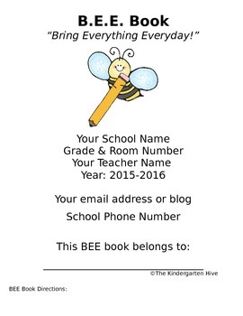 BEE Book Materials EDITABLE