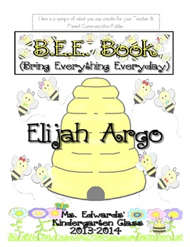 B.E.E. Book- Parent & Teacher Communication Folder