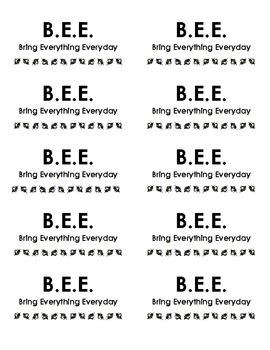 B.E.E. Folder Labels