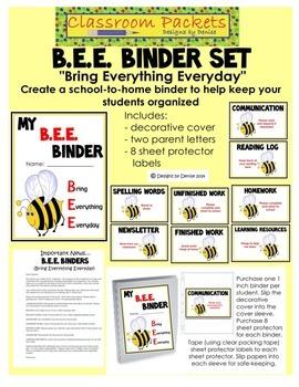 B.E.E. School-to-Home Communication Binder Set