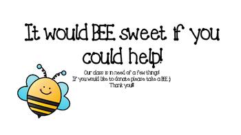 BEE Sweet Classroom Wish List