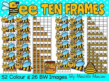 BEE TEN FRAMES- SPRING TEN FRAMES CLIPART