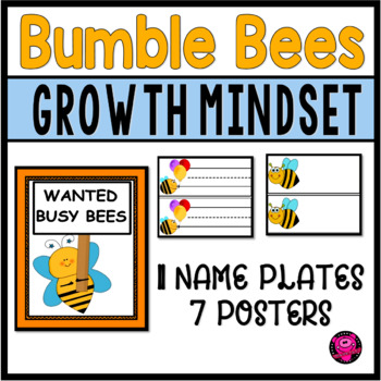 BEE Theme GROWTH MINDSET POSTERS and DECOR
