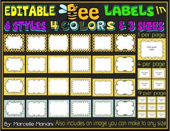 BEE THEMED LABELS (EDITABLE)