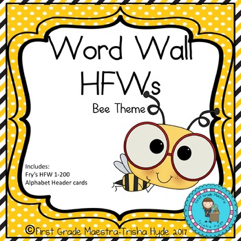 BEE Theme HFW Sight Word Word Wall Cards with Header Cards