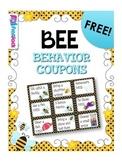 BEE Themed Behavior Reward Coupons FREEBIE