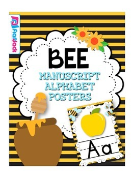 BEE Themed Manuscript Alphabet Posters
