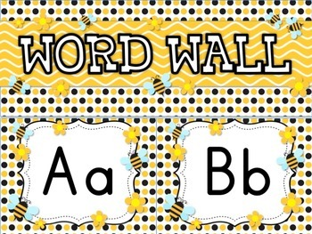 BEE Themed Word Wall Alphabet