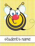 BEE theme - Classroom Decor : Student FOLDER Cover - FREE