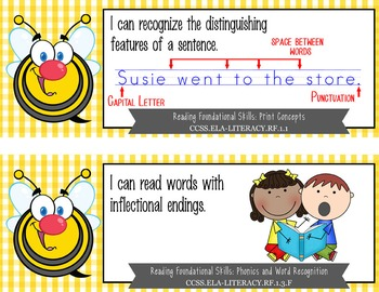"BEES - 1st Grade Common Core Standards ""I CAN"" format / posters"
