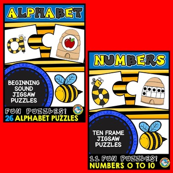 BEE THEMED BUNDLE: ALPHABET AND NUMBER ACTIVITIES: PRE K +