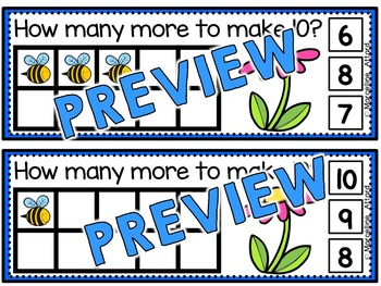 SPRING MATH TASK CARDS: BEES CLIP CARDS: MAKING TEN BEES