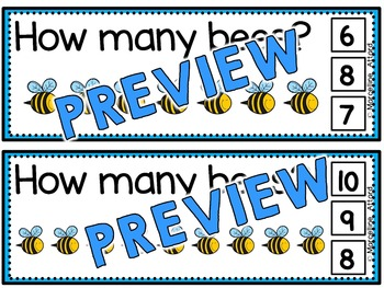 BEES COUNTING CLIP CARDS: SPRING MATH CENTER: NUMBERS 1 TO 10