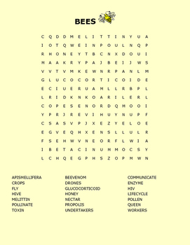 BEES ARE AMAZING WORD SEARCH