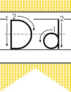 BEES - Alphabet  Banner, handwriting, A to Z, ABC print arrow font