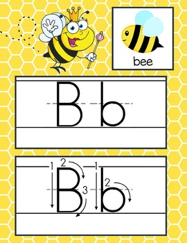 BEES - Alphabet Cards, Handwriting, ABC Flash Cards, ABC print with pictures