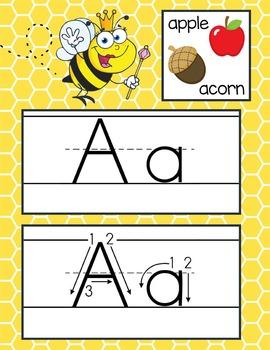 BEES - Alphabet Cards, Handwriting, ABC Flash Cards, ABC p