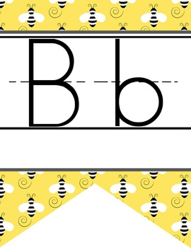 BEES - Alphabet Flag Banner, handwriting, A to Z, ABC print font