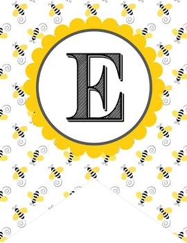BEES - Alphabet Flags, CREATE a BANNER, bee pattern