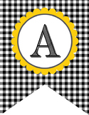 BEES - Alphabet Flags, CREATE a BANNER, black gingham
