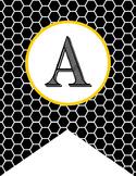 BEES - Alphabet Flags, CREATE a BANNER, black honeycomb