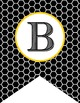 BEES - Alphabet Flags, CREATE a BANNER, black honeycomb