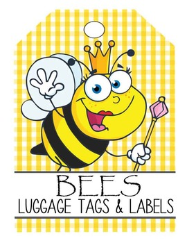 BEES - Labels and Luggage Tags, MS Word, EDITABLE